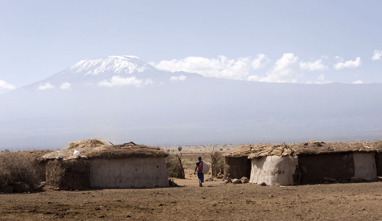 village Masai dans la region Amboseli