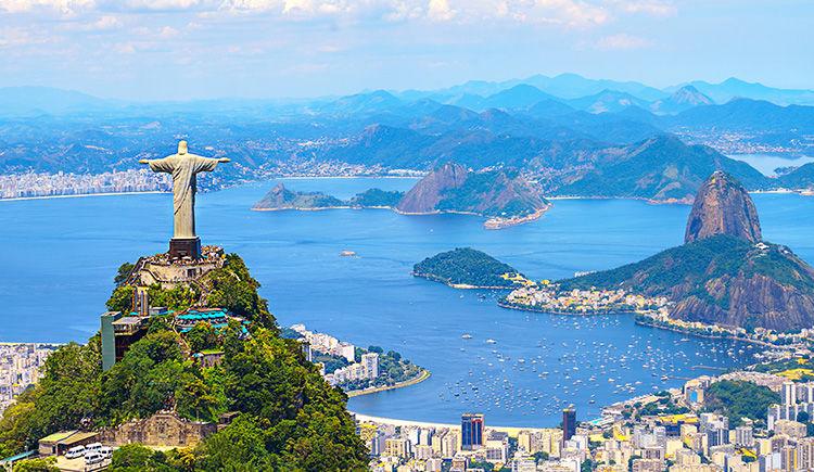 baie de Guanabara avec le Christ Redempteur et le Pain de Sucre