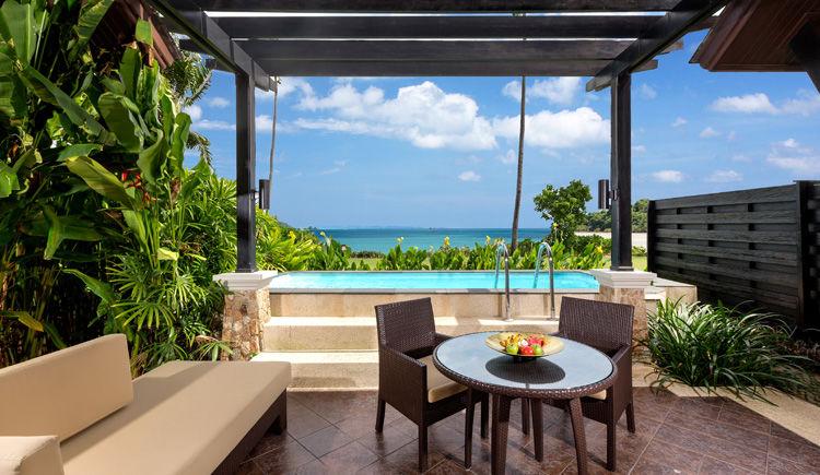 terrase des Villas avec piscine privee vue mer