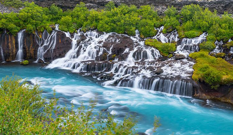 Cascades de Hraufossar et Barnafoss
