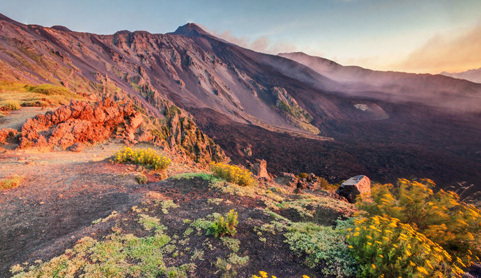 etna un volcan contraste