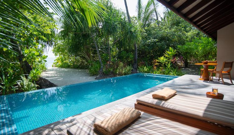 Deluxe beach pool villa patio
