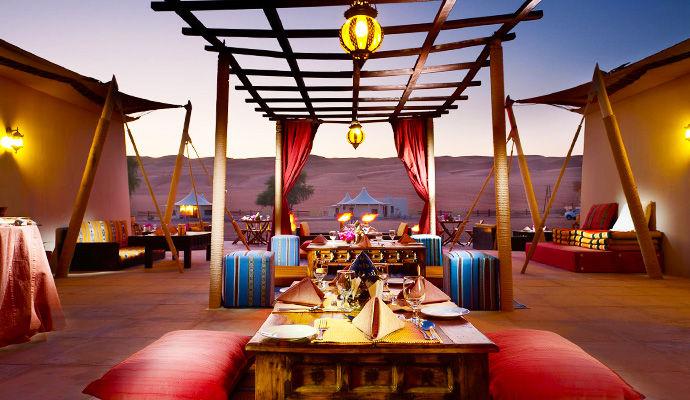 restaurant desert night camp