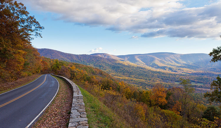 route vers le Parc National Shenandoah